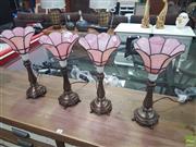 Sale 8620 - Lot 1043 - 4 Pink Leadlight Lamps