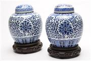 Sale 8715 - Lot 79 - Blue And White Chinese Ginger Jars On Stands