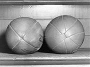 Sale 8754A - Lot 45 - Rugby Union Balls, 1955 - comparison shot of the 4 and 8 piece Rugby Union balls, 1955. 16 x 22cm