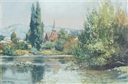 Sale 8755 - Lot 588 - John Allcot (1888 -1973) - Tumut NSW 1943 28.5 x 43cm