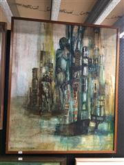 Sale 8753 - Lot 2089 - Helen French-Kennedy - Figures in Metropolitan Landscape oil on board, 78.5 x 93cm, signed lower left -