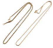 Sale 8899 - Lot 309 - TWO 9CT GOLD BOX CHAINS; each with a bolt ring clasp, lengths 41.5 & 40.5mm, total wt. 11.38g.