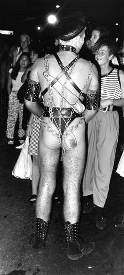 Sale 9082A - Lot 5023 - Sydney Gay and Lesbian Mardi Gras Parade (1988), 11 x 24 cm, silver gelatin, Photographer: unknown