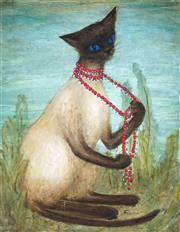 Sale 9047A - Lot 5091 - Artist Unknown - Cats & Beads 33 x 26 cm (frame: 49 x 42 x 3 cm)