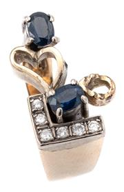 Sale 9071F - Lot 86 - A 12ct GOLD RING; with opal cut sapphire and six round brilliant cut diamonds (missing stone) 9.28g