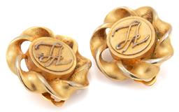 Sale 9115 - Lot 323 - A PAIR OF KARL LAGERFELD CLIP EARRINGS; monogrammed KL discs with twist surrounds with KL plaques to rear, diam. 27mm.
