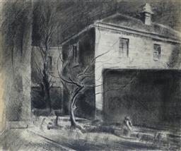 Sale 9191A - Lot 5007 - JOHN SANTRY (1910 - 1990) Figure in Courtyard, Sydney charcoal 48 x 55 cm (frame: 70 x 78 x 4 cm) signed