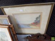 Sale 8471 - Lot 2032 - Framed Water Colour Boat Shed and Yacht on The Lake Scene Signed Lower Right