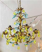 Sale 8500A - Lot 25 - An atique gold leaf gilded 6 light tole chandelier featuring citrine & blue topaz crystal flowers & citrine crystal tear drops. Made...