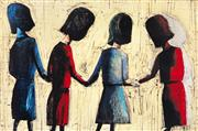 Sale 8527A - Lot 25 - Charles Blackman (1928 - ) - Four Schoolgirls 66 x 100cm