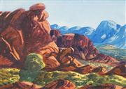 Sale 8549 - Lot 588 - Ewald Namatjira (1930 - 1984) - Central Australian Landscape 25 x 35cm