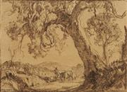 Sale 8597 - Lot 576 - Hans Heysen (1877 - 1968) - Untitled, 1937 13.5 x 19cm
