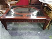 Sale 8601 - Lot 1429 - Large Glass Insert Top Coffee Table on Carved Timber Base (H: 50 L: 106 W: 135cm)