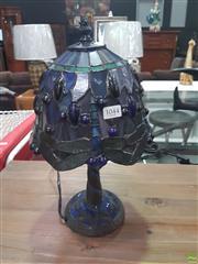 Sale 8620 - Lot 1044 - 2 Tile Base Dragonfly Leadlight Lamps