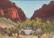 Sale 8755A - Lot 5094 - John Loxton (1903 - 1969) - Simpsons Gap, Central Australia 24 x 35cm