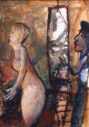 Sale 8692 - Lot 536 - Garry Shead (1942 - ) - Rembrandt and Model I (Artists Muse) 26.5 x 18.5cm