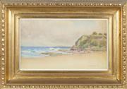 Sale 8762 - Lot 2007 - G. A. Raven - Beach Scene, 1918 30 x 51.5cm (frame: