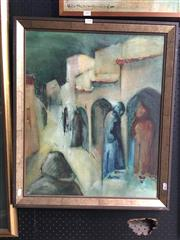 Sale 8753 - Lot 2090 - J Lowe - Morocco Street Scene mixed media on paper, 67.5 x 57cm, signed lower left -