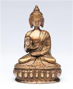 Sale 9093P - Lot 19 - Small Bronze Figure of Buddha on Lotus Throne