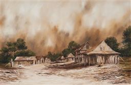 Sale 9133 - Lot 587 - John Guy (1944 - 2000) The Farmers Fiefdom oil on canvas on board 49.5 x 74.5 cm (frame: 63 x 89 x 3 cm) signed lower left, titled ...