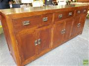 Sale 8489 - Lot 1082 - Stained Oak 6 Door, 3 Drawer Sideboard