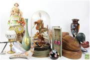 Sale 8490 - Lot 39 - Butterfly Diorama Together Wither Other Wares Incl Gouda Vase, Timber Duck Bookends And Brass Vase