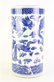 Sale 8827D - Lot 26 - A Blue and White Dragon Themed Umbrella/Stick Stand ( H  44cm Dia 22cm)