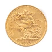 Sale 8855H - Lot 64 - 1914 gold sovereign weight approx 7.95g, S above 1914