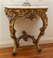 Sale 8882H - Lot 2 - An antique rococco style carved and gilt wall mounted console with white marble top, (top has been restored). Height 92cm x Width 86...