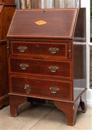 Sale 9060H - Lot 3 - A drop front secretaire of small proportions, the fitted interiors over three drawers and bracket feet. Height 96 x 60 x 38cm