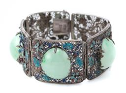 Sale 9107J - Lot 340 - AN ANTIQUE CHINESE ENAMELLED SILVER JADE BRACELET; 5 silver filigree panels enamelled with chrysanthemums (losses), middle 3 claw se...