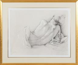 Sale 9155H - Lot 92 - Gilt framed print of a lady at rest by Van Hove . Frame size 81cm x 98cm