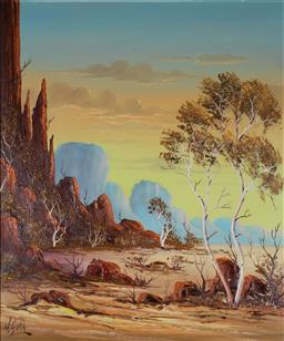 Sale 9191A - Lot 5030 - HENK GUTH (1921 - 2002) Central Australia oil 59 x 48 cm (frame: 71 x 61 x 3 cm) signed