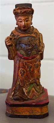 Sale 8320 - Lot 624 - Late c19th Finely carved wood and polychrome Chinese figure of a fine lady