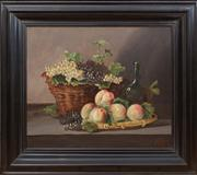 Sale 8435A - Lot 23 - G Goyais - Still Life with Basket of Fruit 45 x 54cm