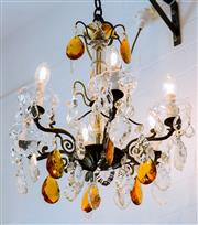 Sale 8500A - Lot 27 - An antique French bronze 6 branch chandelier featuring large amber crystal pendants & french cut faceted crystals - Condition: in wo...