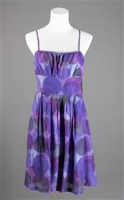 Sale 8499A - Lot 61 - A Theory (New York) purple hued spotted pattern cotton dress with spaghetti straps. Size: 8.
