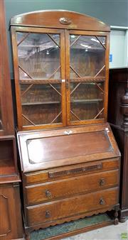 Sale 8570 - Lot 1008 - Oak Bureau with Bookcase Top (200 x 92 x 45cm)