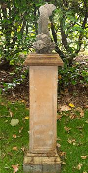 Sale 8677A - Lot 3 - Classical style fish form fountain head raised on terracotta coloured column, total height 170cm.