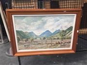 Sale 8707 - Lot 2020 - Les Graham - Pastoral Scene, acrylic on board, SLR