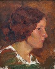 Sale 8901 - Lot 573 - Alice Marian Ellen Bale (1875 - 1955) - Profile of a Woman 25 x 20 cm