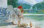 Sale 8938A - Lot 5094 - Joso Buzan (1873 - 1963) - Feeding the Chickens 18 x 27 cm (frame: 33 x 44 x 3 cm)