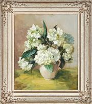 Sale 9028 - Lot 2001 - .Dorothy Clemens - White Hydrangeas 44.5 x 37 cm (frame: 62 x 54 x 5 cm)