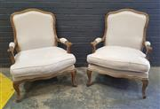 Sale 9026 - Lot 1016 - Pair of French Elm Upholstered Carvers (h:97 x w:70cm)