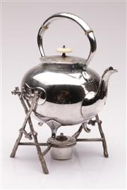 Sale 9049 - Lot 31 - A Silver plated Kettle And Burner On Stand H: 29cm