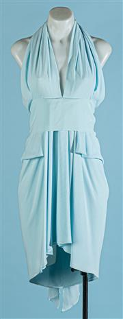 Sale 9090F - Lot 55 - CARLA ZAMPATTI HALTER NECK COCKTAIL DRESS; in bay blue with belt sash and tie up neck, Size 6-8