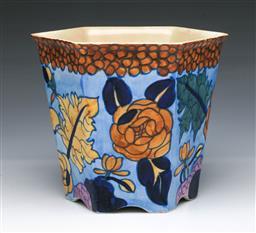 Sale 9093P - Lot 60 - Charlotte Rhead Hexagonal Peony Jardiniere by Bursley Ware (H: 16 cm)
