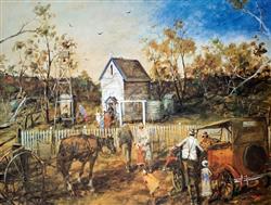 Sale 9091A - Lot 5027 - Hugh Sawrey (1919 - 1999) - The Church on the Rise 64.5 x 87 cm
