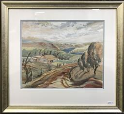 Sale 9106 - Lot 2004 - F.S Rodriguez Country Landscape with Cottage & River Scenes gouache and watercolour, frame: 48 x 52cm, signed lower left -