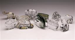 Sale 9131 - Lot 95 - Large collection of art glass figural paperweights inc Murano fish (H:11.5cm), Orrefors frog (H:8.5cm), Baccarat griffin (H:11cm)